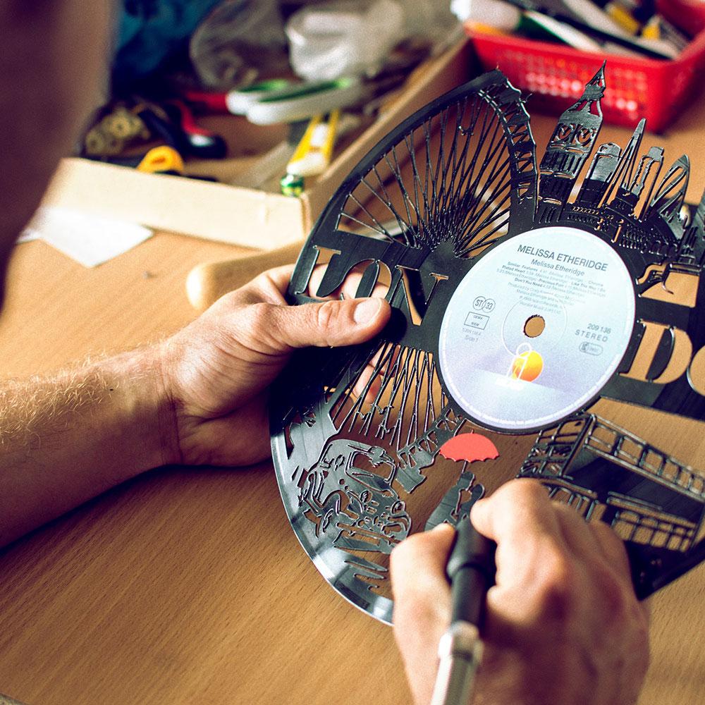 Bespoke vinyl clocks